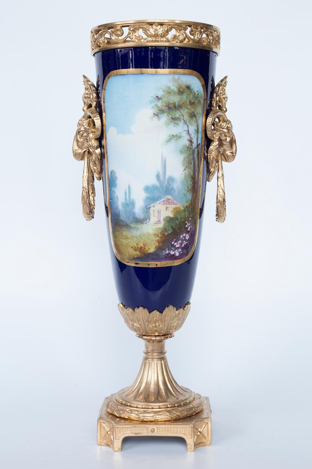 Authentic Sevres gilt bronze mounted hand painted porcelain vase