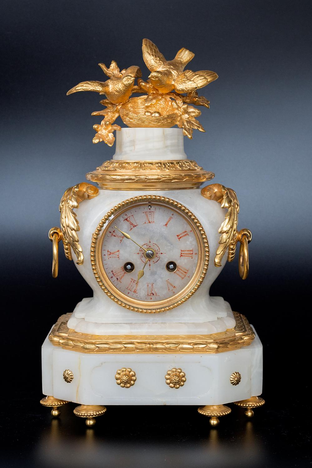 French manufacture 19th century decorative watch set in marble and gold-plated bronze