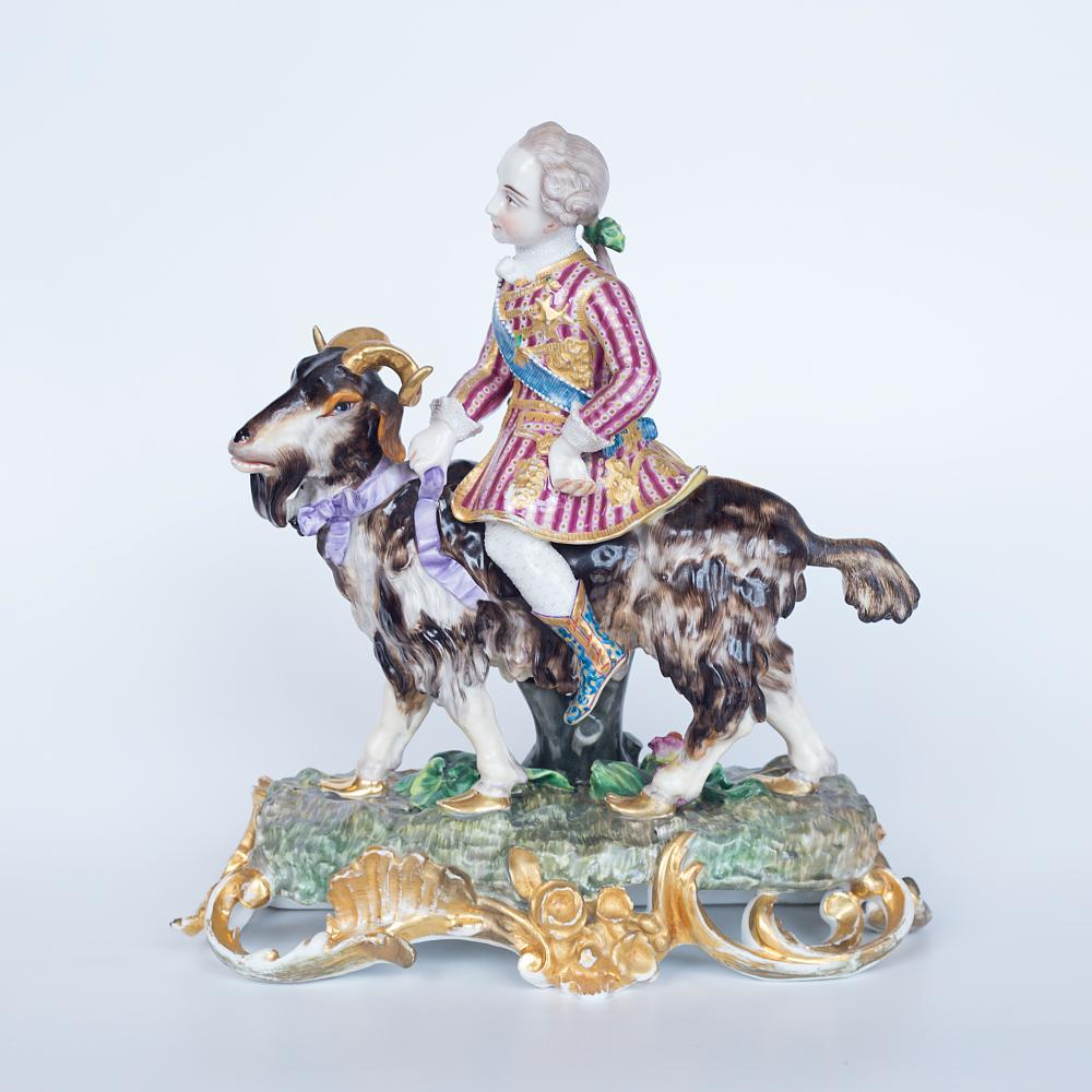"Porcelain figure ""Cavalier on the goat"" mid-19th century, factory Miklashevsky"