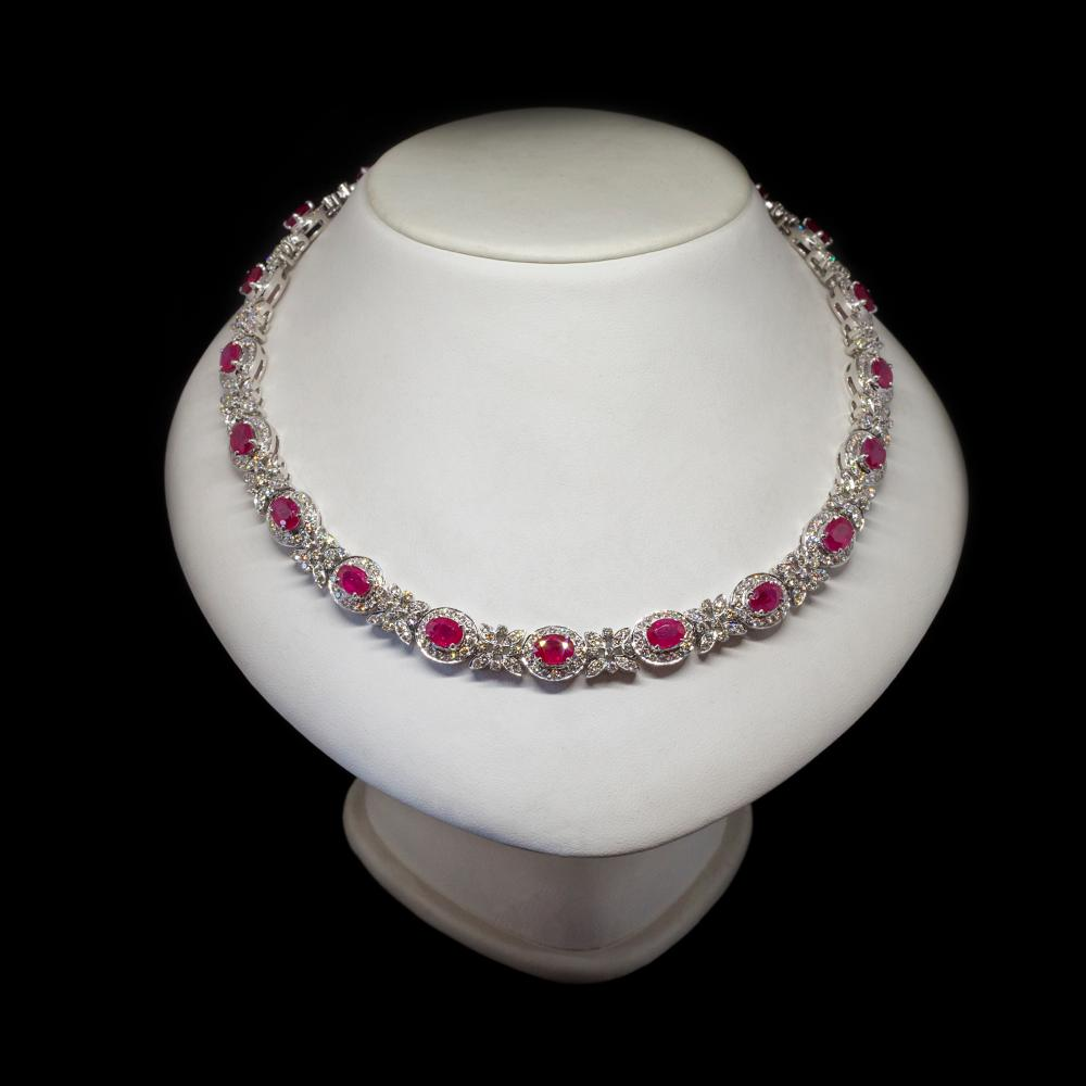 15,89CTW Natural Diamond & 18CTW Natural Rubies 18K white gold necklace.