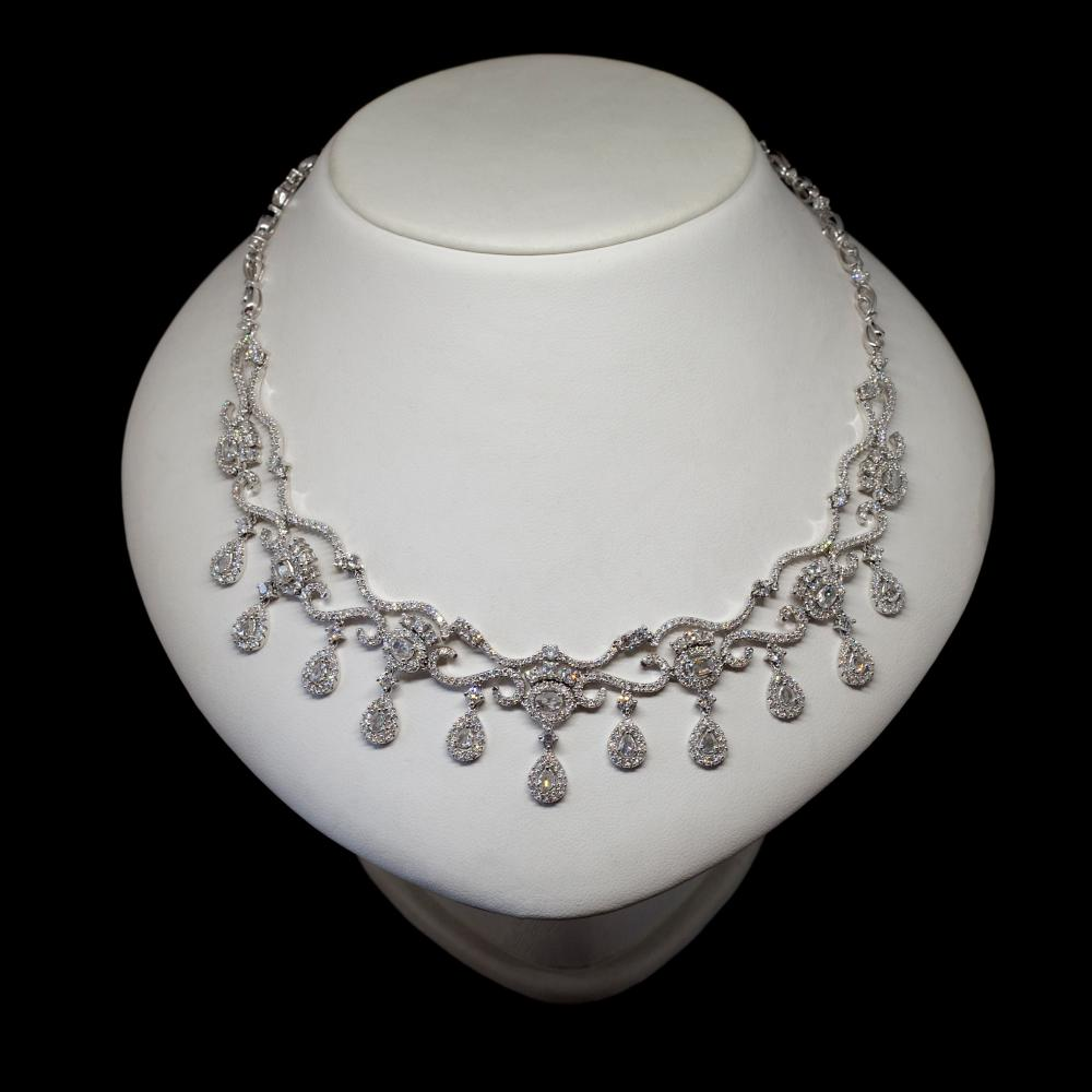 10,28CTW Natural, Untreated Diamond 18K white gold necklace