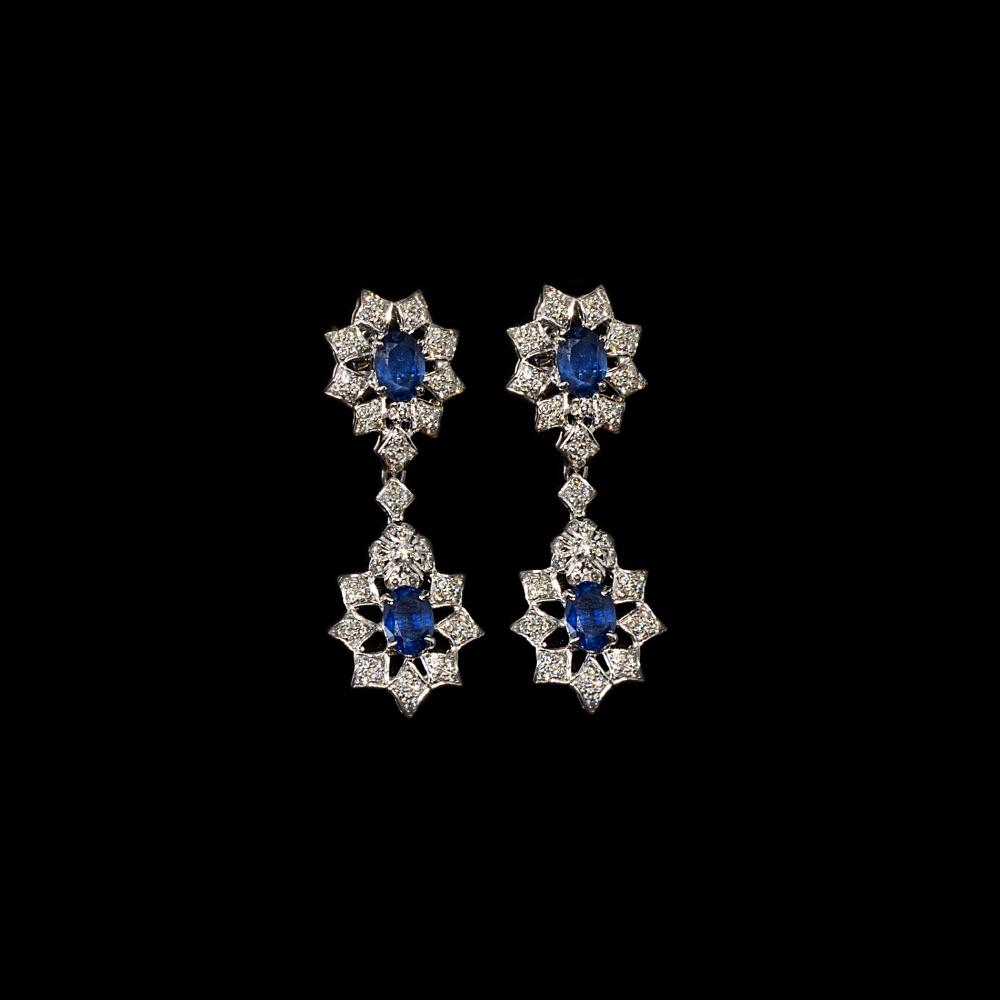 2,44CTW Diamond & 3CTW Natural Blue Sapphire 18K white gold pair of dangle earrings