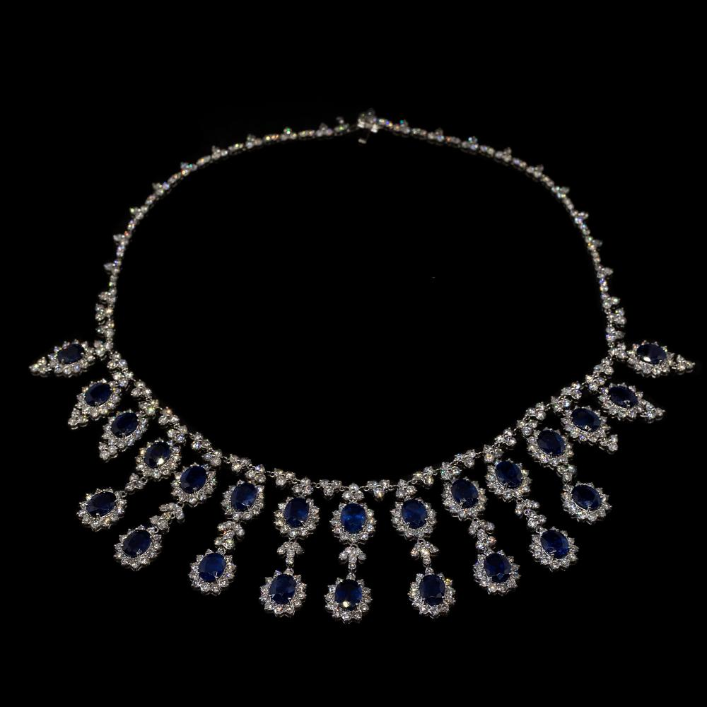 24,28CTW Natural Diamond & 31,20CTW Natural Sapphire 18K white gold drop necklace