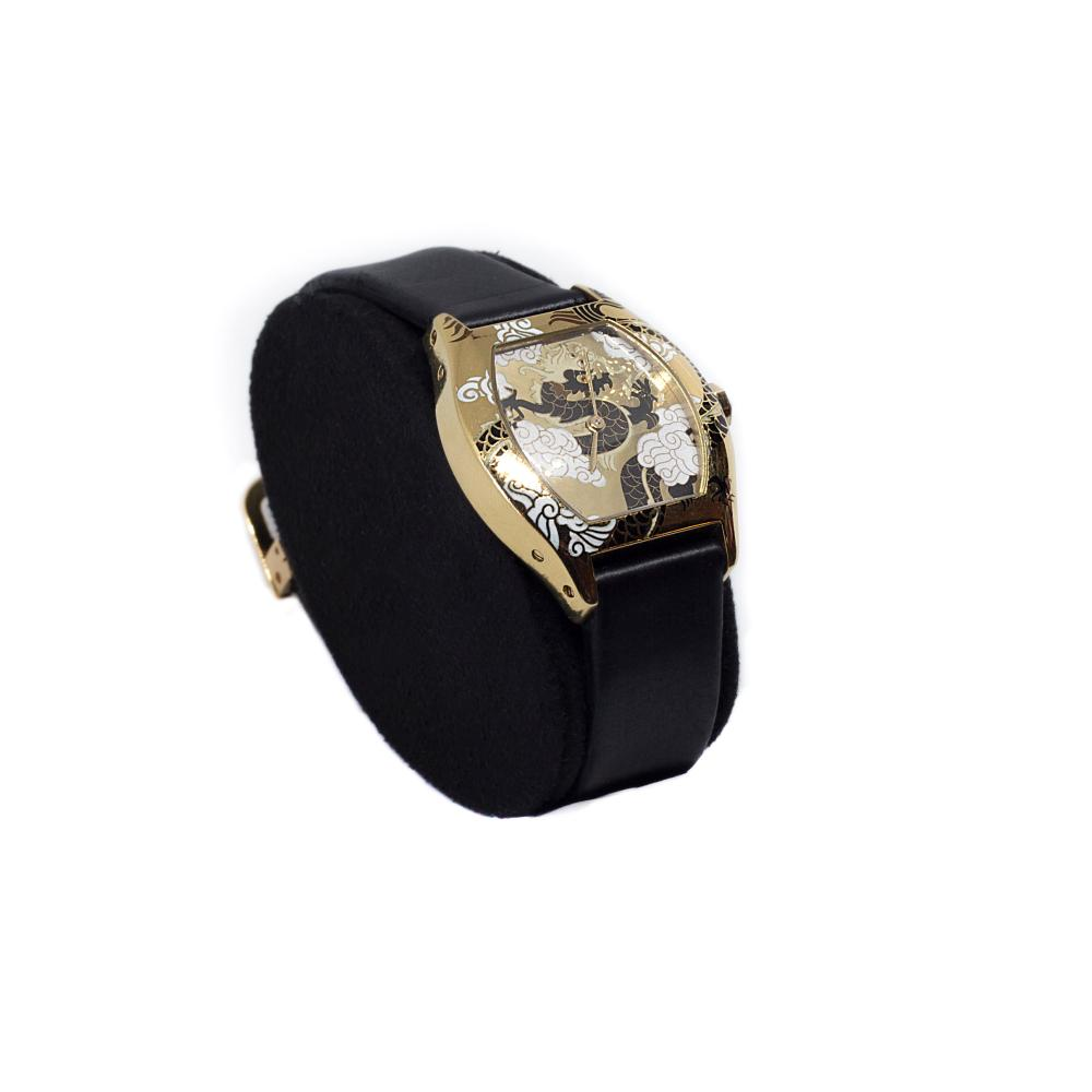 Cartier TORTUE PETIT MODÈLE AND GRAND MODÈLE, REFERENCE 2496 LIMITED EDITION YELLOW GOLD CLOISONNÉ ENAMEL WRISTWATCHES WITH DRAGON MOTIF CIRCA 2004