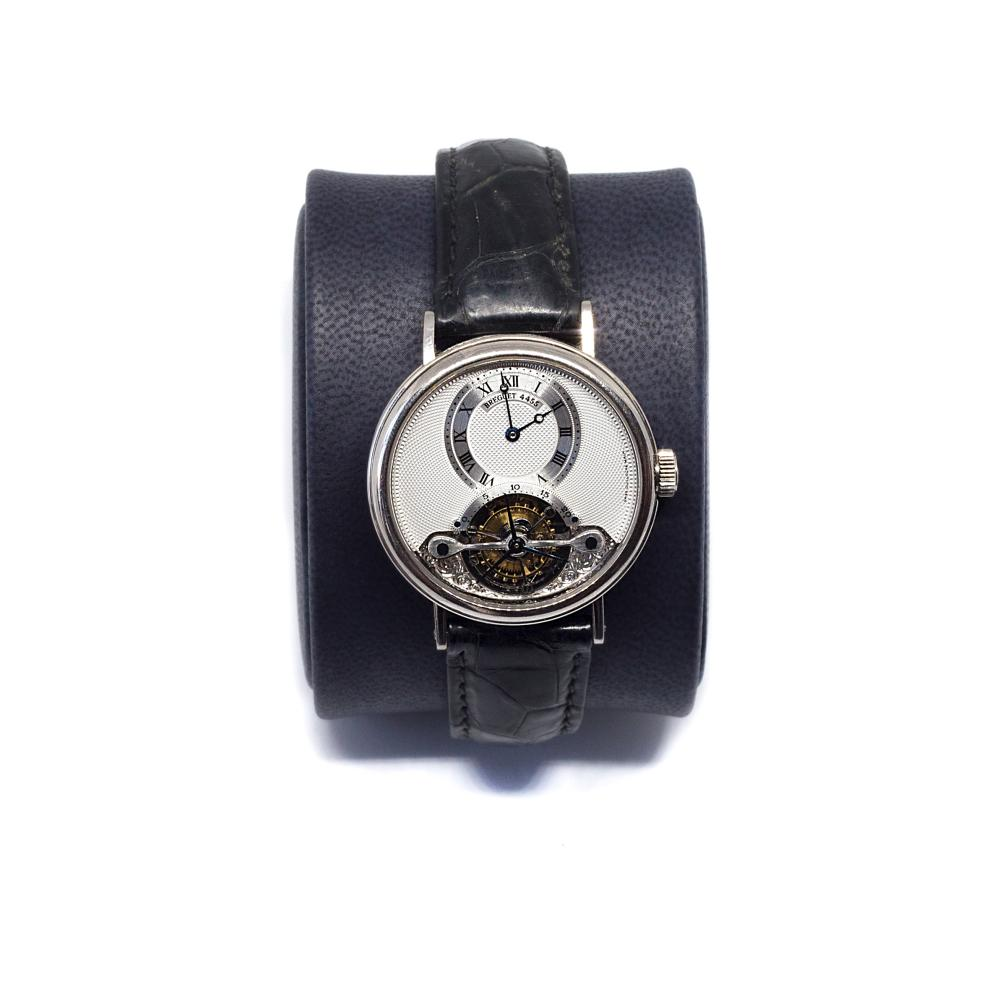 Brequet This Men's watch has 35 mm 18K White Gold case with tourbillon. Hand-wound movement, engraved by hand