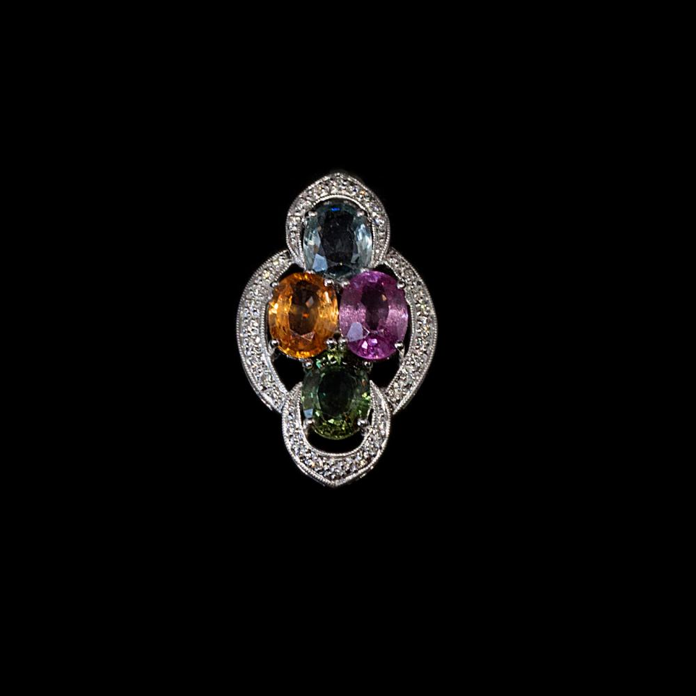 18K white gold 5,70TCW multi-color sapphires and 0,14CTW diamond pendant.