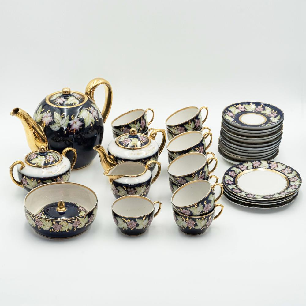 Vintage Russian cobalt blue porcelain tea set.