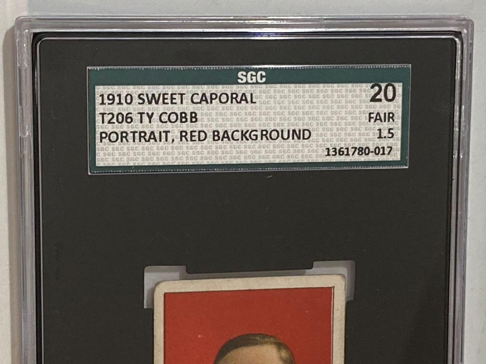1910 T206 Ty Cobb Portrait Red Background SGC 20