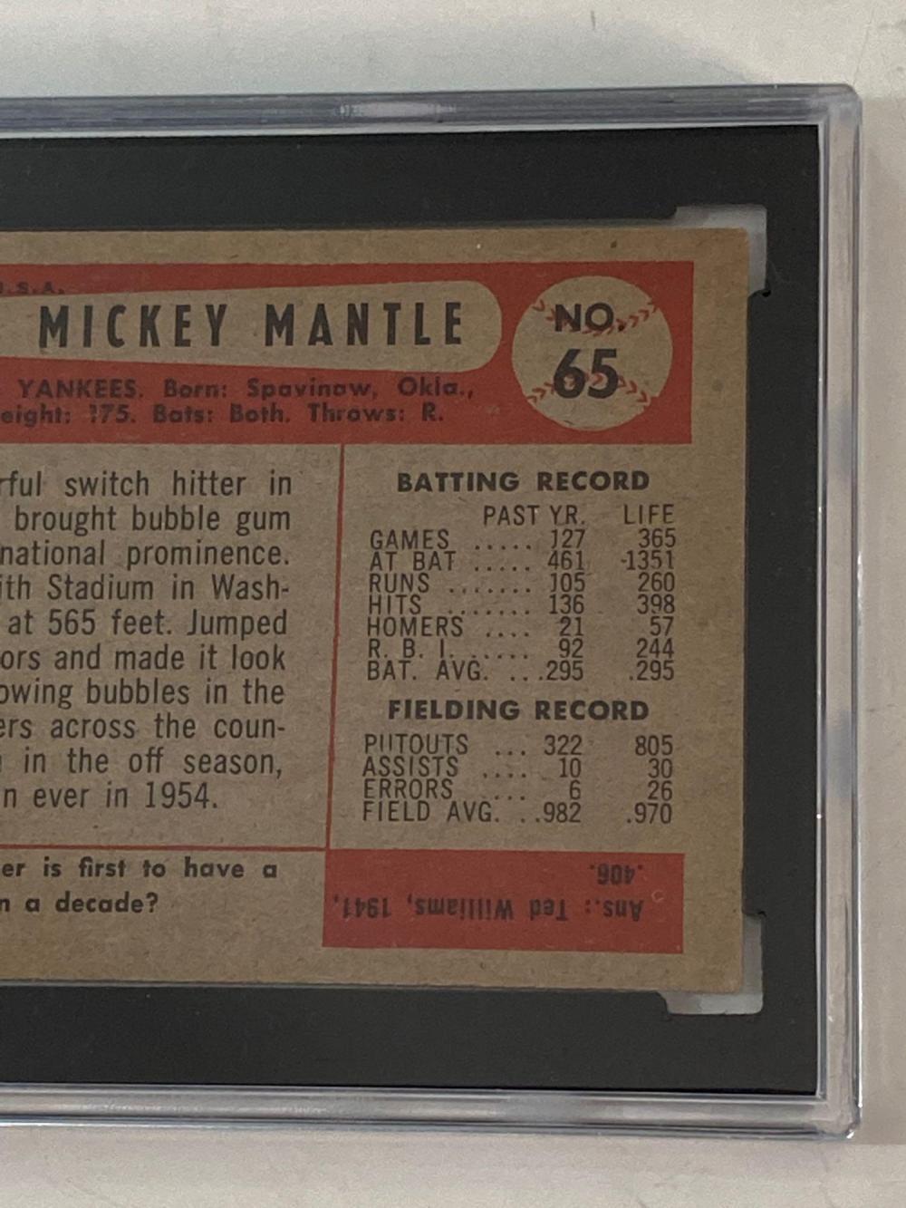 1954 Bowman #65 Mickey Mantle SGC 50 New York Yankees