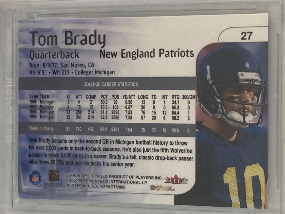 2000 Impact #27 Tom Brady Rookie Card BGS 9.5 GEM MINT