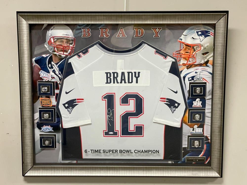 Tom Brady Signed Jersey Super Bowl Ring Framed Amazing 1/6
