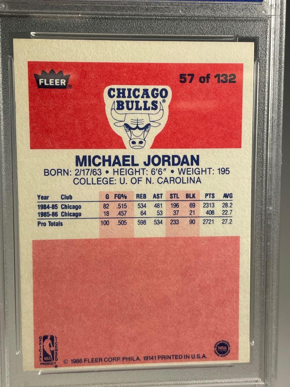 1986 Fleer Basketball #57 Michael Jordan Rookie PSA 8 (OC)