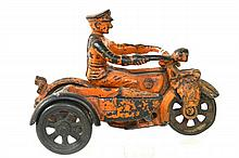 AC WILLIAMS CAST IRON MOTORCYCLE W/SIDECAR