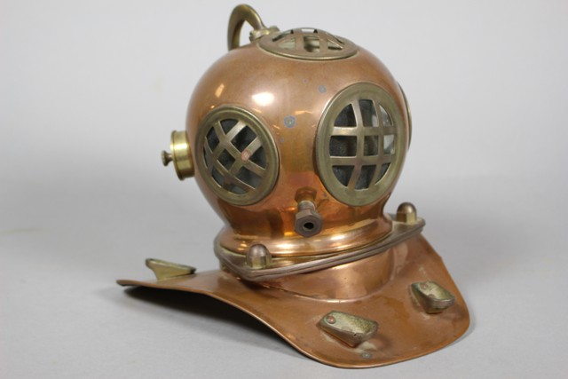 Vintage Copper and Brass Naval Diving Helmet Model