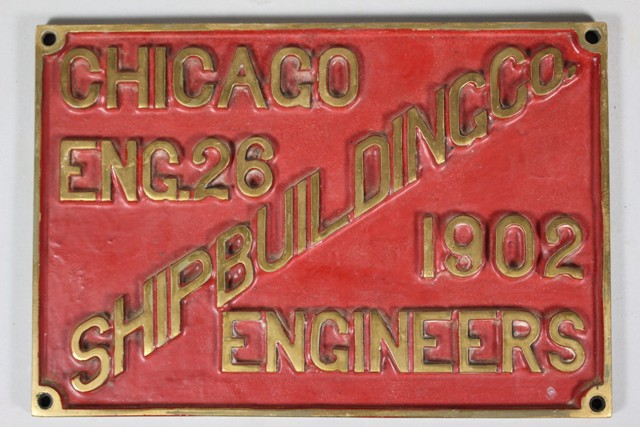 1902 Chicago Engineers Ship Building Co. Builder's Plate