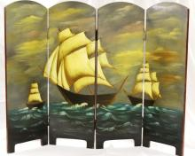 Hand Painted Four Panel Nautical Fireplace Screen