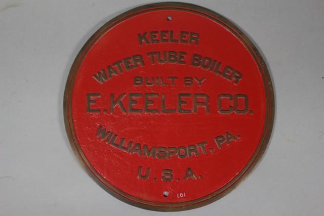 E. Keeler Co. Water Tube Boiler Builder's Plate
