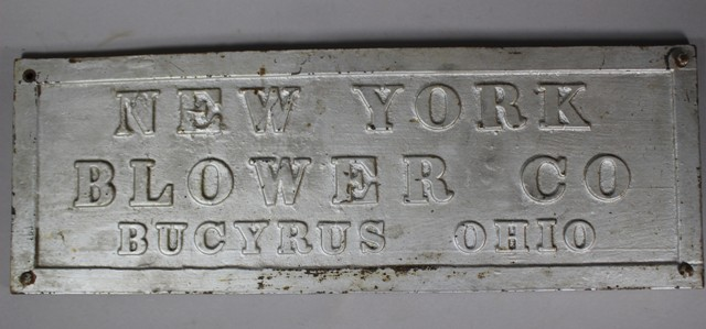 Antique New York Blower Co. Cast Iron Builder's Plate