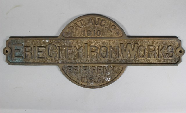 1910 Erie City Iron Works Builder's Plate