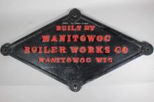 Manitowoc Boiler Works Co. Painted Builder's Plate
