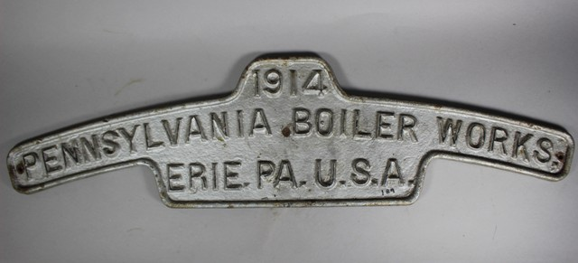1914 Pennsylvania Boiler Works Builder's Plate