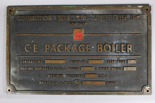 Combustion Engineering-Superheater, INC. Builder's Plate