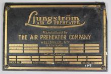 ca 1960's Ljungstrom Air Preheater Builder's Plate