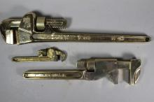 Two AMPCO Aluminum Bronze Pipe Wrenches