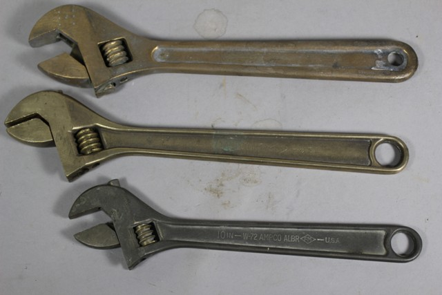 Three AMPCO Aluminum Bronze Crescent Wrenches