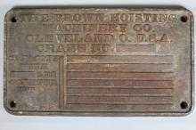 The Brown Hoisting Machinery Co. Builder's Plate