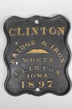 Clinton Bridge & Iron Works Cast Iron Builder's Plate