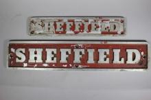 Pair of Vintage Sheffield Motors Inc. Builder's Plates