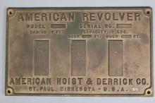 American Hoist & Derrick Co. Builder's Plate
