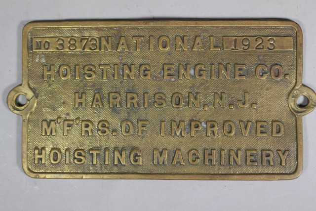1923 National Hoisting Engine Co. Builder's Plate