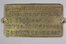 1923 National Hoisting Engine Co. Builder's Plate