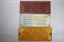 Three 20th Century Railroad Builder's Plate