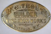 King Iron Works H.C. Trout Builder's Plate