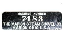 The Marion Steam Shovel Co. Painted Builder's Plate