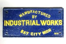 Industrial Works Painted Cast Iron Builder's Plate