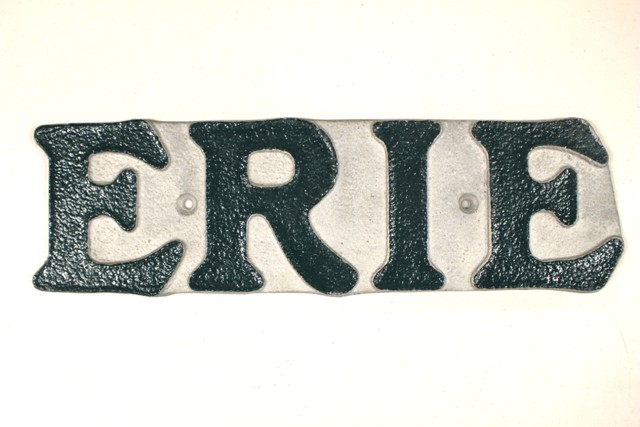 Vintage Painted Cast Aluminum Erie Sign