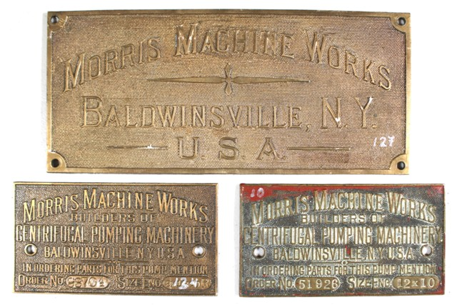 Set of Three Morris Machine Works Builder's Plates