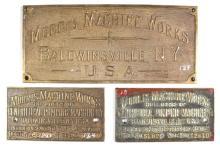 Set of Three Morris Machine Works Builder's Plates