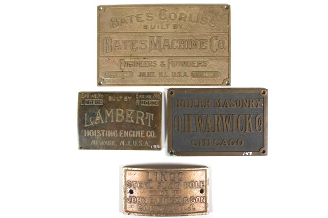 Collection of Four 20th C. Industrial Builder's Plates