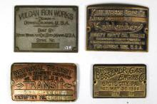 Collection of four Industrial Builder's Plates