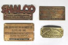 Group of Four Cleveland and New York Builder's Plates