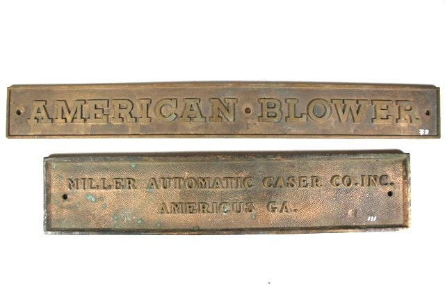 American Blower and Miller Auto. Caser Co. Plaques