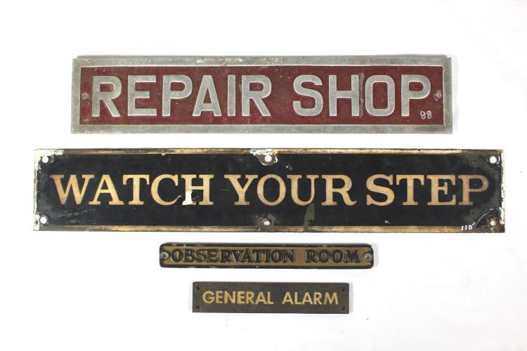 Four mid 20th Century Industrial Wall Plaque Signs