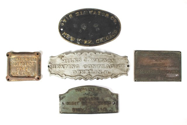 Collection of Five Assorted Industrial Builder's Plates
