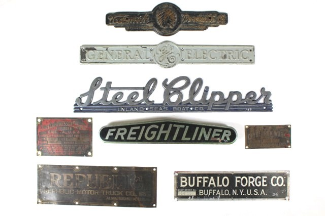Eight Industrial Wall Plaques and Builder's Plates