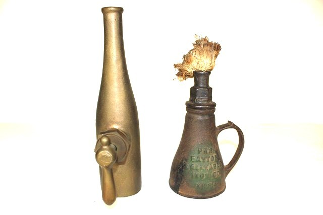 Dayton Cast Iron Oil Lamp and Brass Water Nozzle
